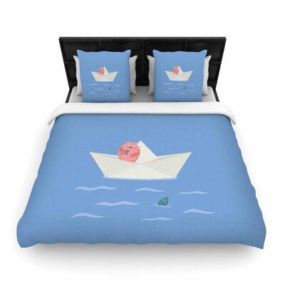 Cristina bianco Design Cat & Paper Boat Woven Duvet Cover