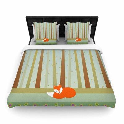 Cristina bianco Design Sleeping Fox Illustration Woven Duvet Cover