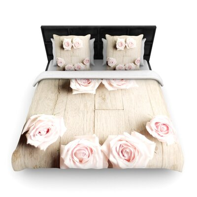 Cristina Mitchell Smile Wood Roses Woven Duvet Cover