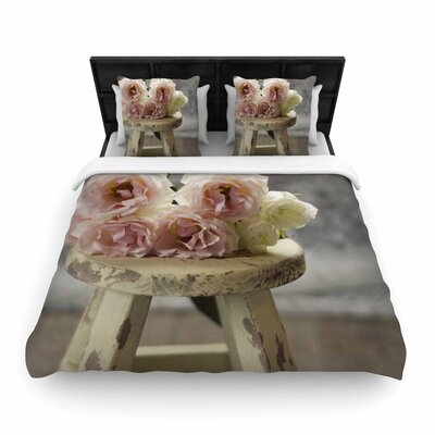 Cristina Mitchell Roses on Stool Floral Photography Woven Duvet Cover