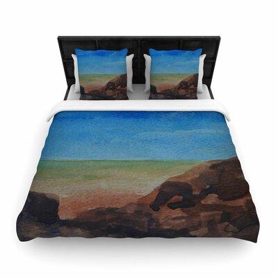 Cyndi Steen Beach Rocks Coastal Woven Duvet Cover