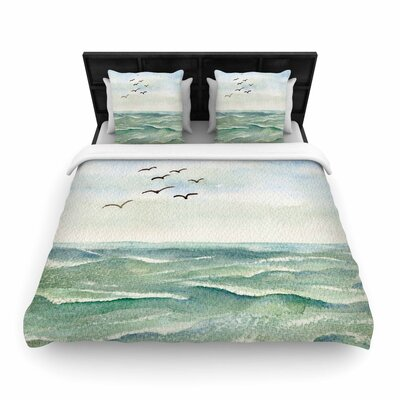 Cyndi Steen Flock Flying Low Coastal Woven Duvet Cover
