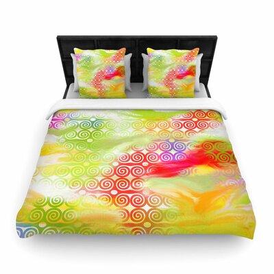 Dan Sekanwagi Locked Rams Horns Rainbow Abstract Woven Duvet Cover