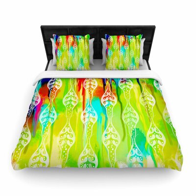 Dan Sekanwagi Seeds of Unity Paint Woven Duvet Cover Color: Green