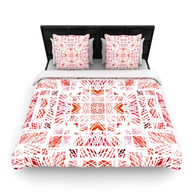 Danii Pollehn Scandanavian Square Woven Duvet Cover Color: Red, Size: Twin