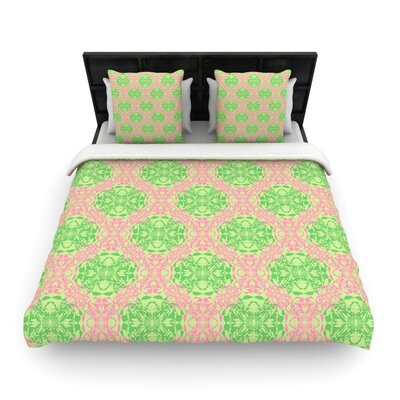 Mydeas Diamond Illusion Damask Watermelon Woven Duvet Cover Color: Pink/Green, Size: King