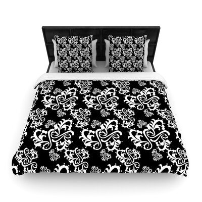 Mydeas Sweetheart Damask & Pattern Woven Duvet Cover Size: King, Color: White