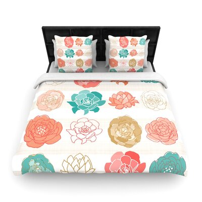 Pellerina Design Flower Square Floral Woven Duvet Cover Size: King