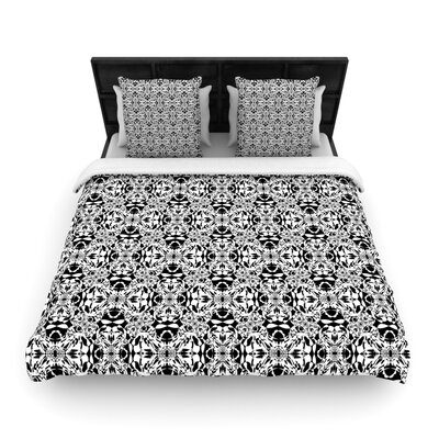 Mydeas Diamond Illusion Damask Watermelon Woven Duvet Cover Color: Black/White, Size: Twin