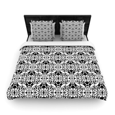 Mydeas Illusion Damask Woven Duvet Cover Color: Black/White, Size: Full/Queen