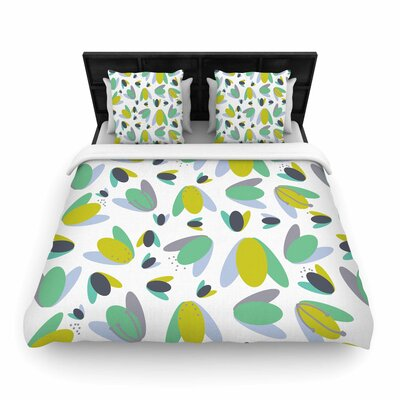 Love Midge 1970s Floral Geometric Neon Nature Woven Duvet Cover Color: Yellow, Size: Full/Queen