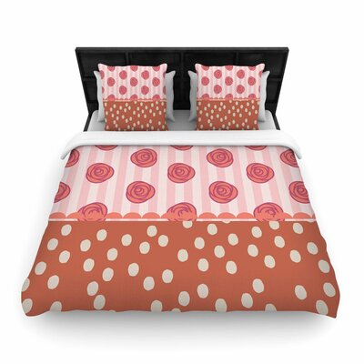 Pellerina Design Mismatch Romantic Polkadot Floral Woven Duvet Cover Color: Coral, Size: King