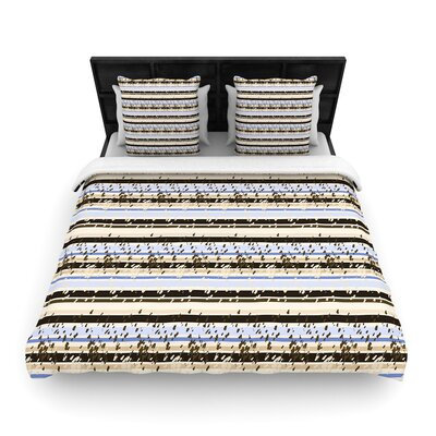 Mydeas Nautical Breeze - Sandy Stripes Woven Duvet Cover Size: King