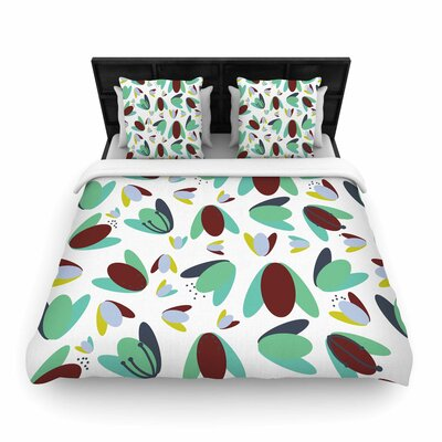 Love Midge 1970s Floral Geometric Neon Nature Woven Duvet Cover Color: Green, Size: Twin