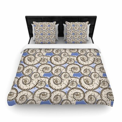 Mydeas Nautical Breeze - Spiral Seashells Vector Woven Duvet Cover Size: Twin