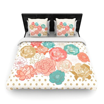 Pellerina Design Spring Florals Blush Peony Woven Duvet Cover Size: King