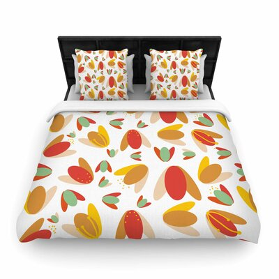 Love Midge 1970s Floral Geometric Neon Nature Woven Duvet Cover Color: Orange, Size: Full/Queen