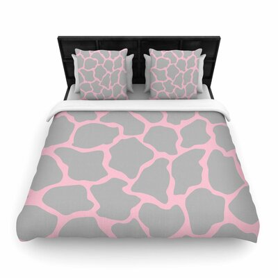 Wildlife Animal Print Digital Woven Duvet Cover Color: Pink, Size: King