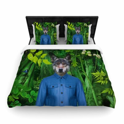 Natt into the Leaves N3 Wolf Woven Duvet Cover Size: Full/Queen