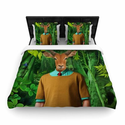 Natt into the Leaves N4 Antelope Woven Duvet Cover Size: Full/Queen
