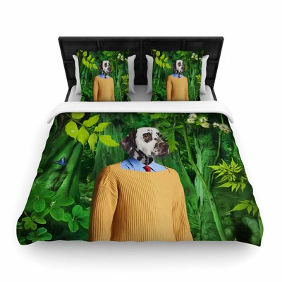 Natt into the Leaves N1 Dog Woven Duvet Cover Size: King