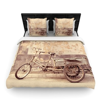 Jillian Audrey the Bicycle Photography Woven Duvet Cover Size: King