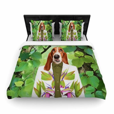 Natt into the Leaves N6 Dog Woven Duvet Cover Size: Twin