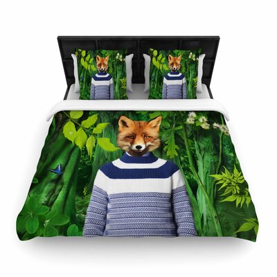 Natt into the Leaves N7 Fox Woven Duvet Cover Size: Twin