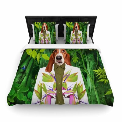Natt into the Leaves N5 Dog Woven Duvet Cover Size: Full/Queen