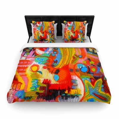 Jeff Ferst Flower Power Abstract Woven Duvet Cover Size: King