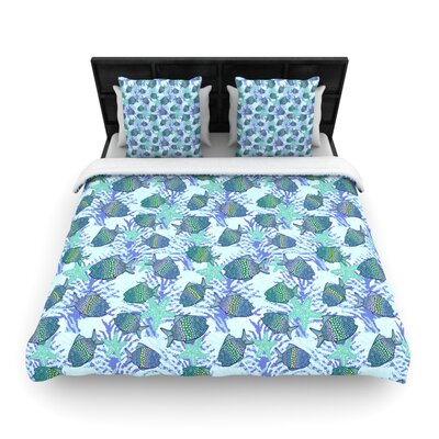Julia Grifol My Colorful Fishes Woven Duvet Cover