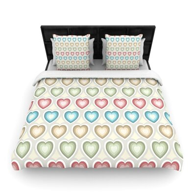Julia Grifol My Hearts Woven Duvet Cover Size: Full/Queen