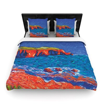 Jeff Ferst Sea Shore Coastal Painting Woven Duvet Cover Size: Twin