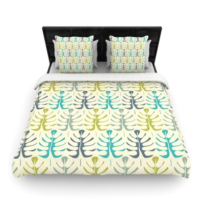 Julia Grifol My Leaves Woven Duvet Cover Size: King