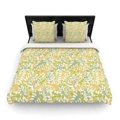 Julia Grifol Warm Tropical Leaves Woven Duvet Cover Size: King