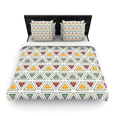 Julia Grifol Ikat Triangles Woven Duvet Cover Size: Full/Queen