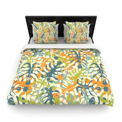 Julia Grifol Summer Tropical Leaves Woven Duvet Cover Size: Full/Queen