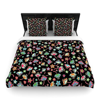 Julia Grifol Sweet Flowers Woven Duvet Cover Size: King