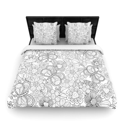Julia Grifol My Butterflies and Flowers Woven Duvet Cover Size: King