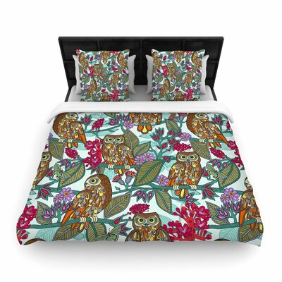 Julia Grifol My Bookbooks Owls Woven Duvet Cover Size: King
