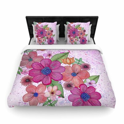 Julia Grifol My Garden in Floral Woven Duvet Cover Size: Twin