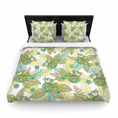Julia Grifol Summer Birds Woven Duvet Cover Size: Full/Queen