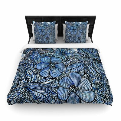 Julia Grifol Flowers in My Garden Woven Duvet Cover Size: Full/Queen
