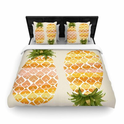 Judith Loske Happy Pineapples Woven Duvet Cover Size: Twin