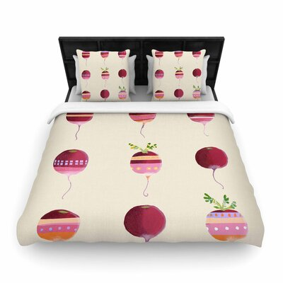 Judith Loske Happy Radishes Ped Woven Duvet Cover Size: King
