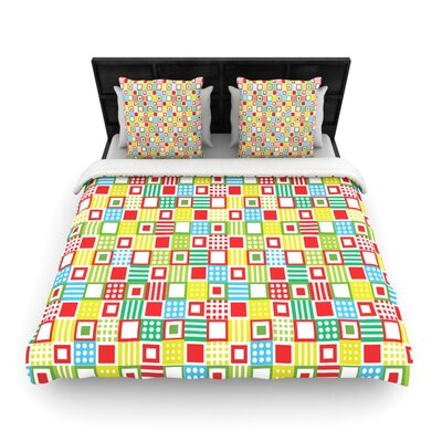 Julie Hamilton Check Checke Woven Duvet Cover Size: King
