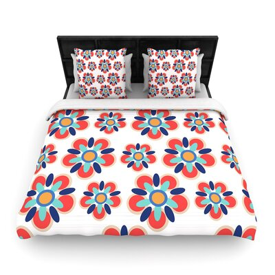 Jolene Heckman Folksy Woven Duvet Cover Color: Red/Teal, Size: King