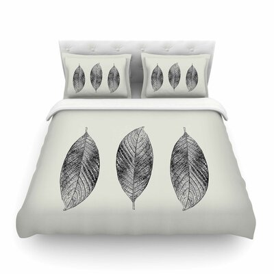 Julia Grifol Three Leaves Nature Featherweight Duvet Cover Size: King