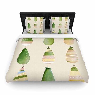 Judith Loske Happy Pears Woven Duvet Cover Size: Full/Queen