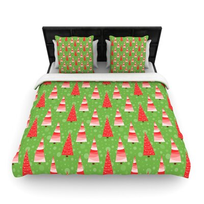 Julie Hamilton Juniper Christmas Trees Woven Duvet Cover Size: Twin